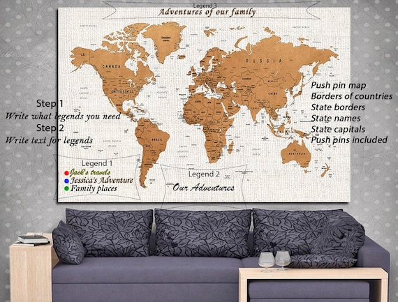 I Need A Map Of The World.World Map Wall Art Watercolor World Map Push Pin Map Of The Etsy
