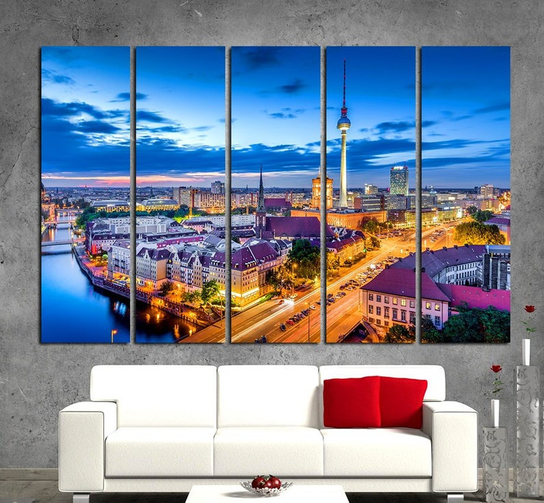 Berlin Watercolor Canvas Art Prints Wall Art Berlin Canvas Living Room Large Wall Art Sets Berlin Bedroom Wall Decor in Modern Style
