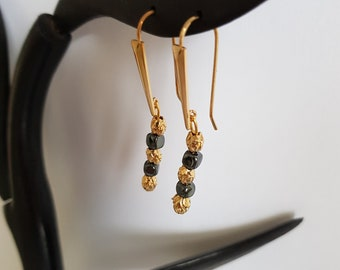 8eb6ad958 Gold Plated Earrings 750/000 warranty-hematite beads, gold-plated  beads-Women's jewellery