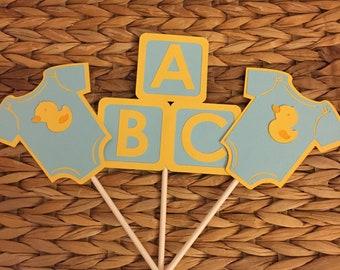 Set of 12 Rubber Ducky Centerpiece Sticks/  Baby Shower Centerpiece, yellow/blue diaper cake rubber duck diaper cake