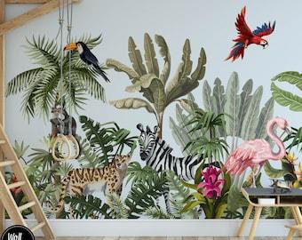 Safari Nursery Wallpaper, Jungle Nursery Wallpaper, Childrens Safari Nursery Wallpaper, Children's Removable Wallpaper, Pre-Pasted, N#139