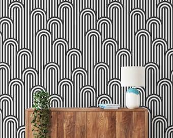Black and White Wallpaper, Geometric Wallpaper, Modern Wallpaper, Removable Wallpaper, Geometric Removable Wallpaper, Geometric Decor G#56