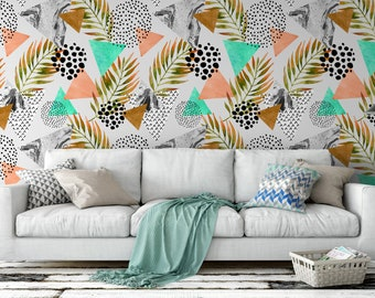 Triangles & Ferns, Wall Mural (Self-Adhesive), Geometric Mural, Geometric Wallpaper