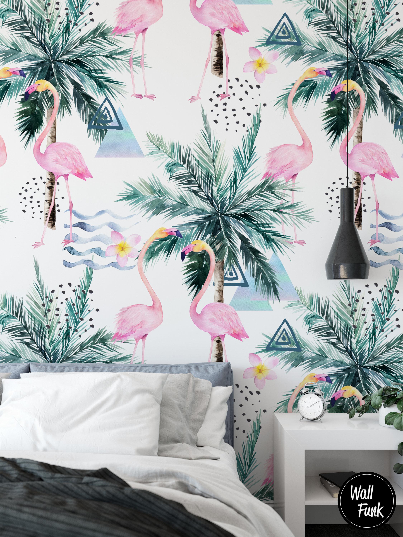 Flamingo Trees Wall Mural Self Adhesive Floral Mural Etsy