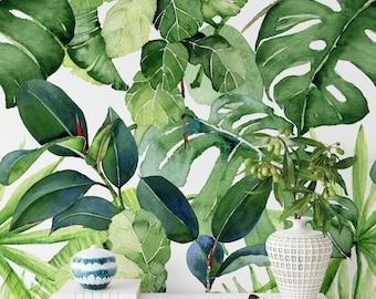 Banana Leaf Wallpaper, Removable Banana Leaf Wallpaper, Floral Wallpaper, Floral Removable Wallpaper, Temporary Removable Wallpaper F#91