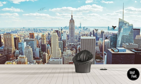 New York Morning Wall Mural Self Adhesive City Mural City Wallpaper New York Mural Mural Wallpaper New York Wallpaper Cityscape