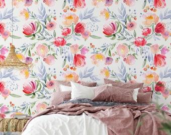 Removable Floral Wallpaper, Floral Removable Wallpaper, Floral Wallpaper, Floral Removable Wallpaper, Watercolour Floral Wallpaper F#97