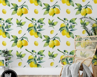 Lemon Wallpaper, Floral Wallpaper, Lemon Removable Wallpaper, Removable Wallpaper Lemon, Lemon Stick On Wallpaper, Pre-Pasted Wallpaper F#22