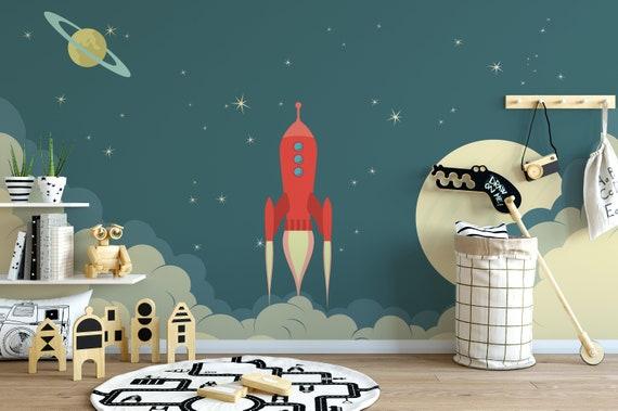 Space Rocket In The Night Kids Mural Self Adhesive