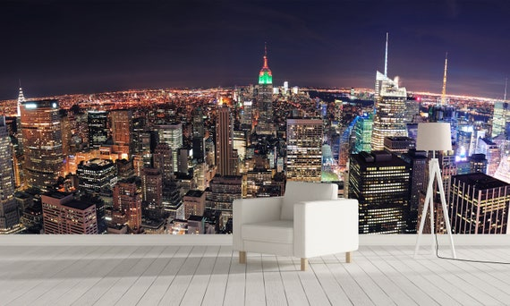 New York At Night 2 Wall Mural Self Adhesive City Mural City Wallpaper New York Mural Mural Wallpaper New York Wallpaper Cityscape