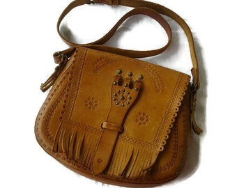 Hippie brown leather bags women Vintage Tooled Boho handbag Crossbody  satchel shoulder bag hipster bohemian bags and purses Handmade 70s 80s 82dbbbfc0014a