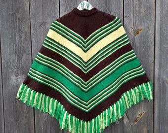 70s Vintage poncho women Green Yellow Brown Winter Clothes handmade striped knit cape Boho hippie Sweater Fringe poncho Size M/L Christmas