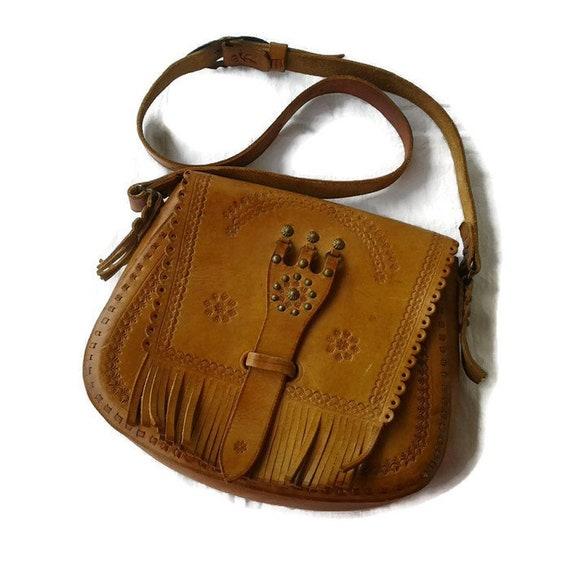 6f3f32a46e13 Hippie brown leather bags women Vintage Tooled Boho handbag Crossbody  satchel shoulder bag hipster bohemian bags and purses Handmade 70s 80s