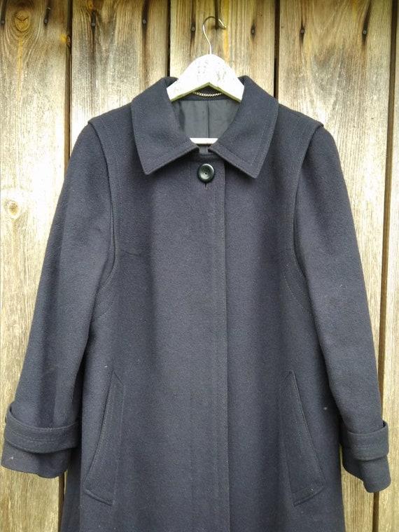 Langer dunkelblauer 80er Jahre Vintage Damen Mantel mit