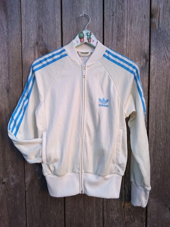 a866298c5d02 90s Adidas Windbreaker vintage jacket Size M Blue white Zipper
