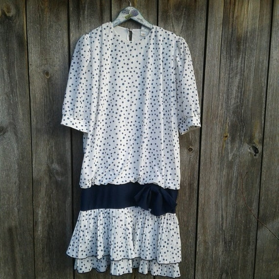 Vintage dress for women White and Blue Polka dots