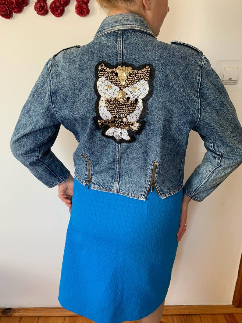 c570f5172 Vintage sequined bomber Gold Sequin blazer Denim jacket Disco clothing  women Owl embroidery design Patches & Sequins Owl Patch Supplies S M