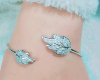 Silver Leaf Cuff Bangles & Bracelets Accessories for Girls Women Gift Trendy Jewelry