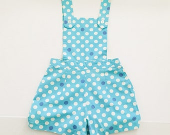 1d2f35fa93c Vintage polka dot dungarees - pastel blue romper shorts - spotted retro  sixties XXS petite Teens Girls