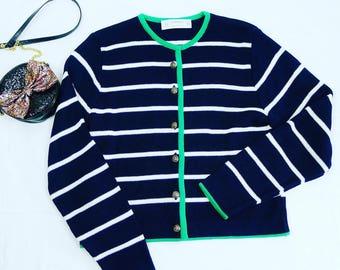 Vintage St Michael Navy blue, white striped  sweater cardigan M.