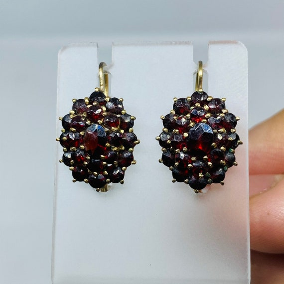 Bohemian garnet earrings - gold