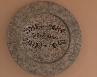 Tin Welcome plate