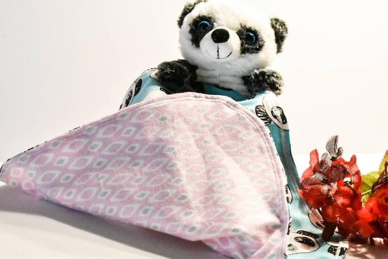 Stuffed Panda Lovey Blanket Security Blanket Snuggle Blankets