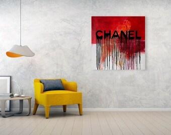Chanel Plakative Fashion Dirty Red Trendy/ChanelArt/ChanelPoster/Painting/Prada/Warhol/StreetArt/PopArt/Stylish/Decorative/Typografie/