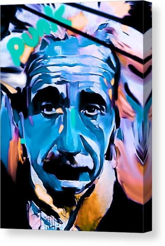 Albert Einstein Punk 120 x90 cm Silber Aluminium PopArt//Malerei//Bild//Street Art