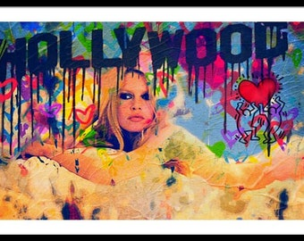Brigitte Bardot Hollywood PopArt/StreetArt/Loft/Decorative/Painting/WoodPrint/Poster/XXLCanvas/Canvas/StreetArt/Movie/Hollywood/Oscar/Icon