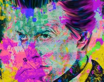 David Bowie Summer Splash Mixed Media/offset print/TransparentAirbrush/painting/Painting/original/LimitedEdtion/FelixvonALtersheim/signature