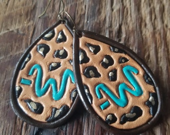 Custom Leather Tooled Brand Earrings