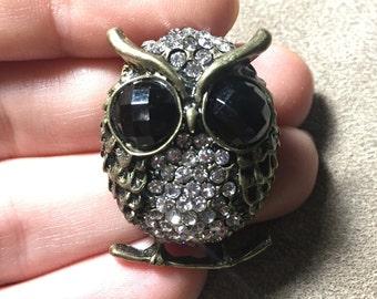 Crystal Owl Pendant W/Onyx Eyes