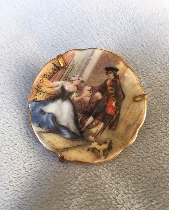 Antique Limoges France pin brooch W/Lovers and Dog