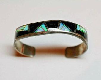 Rare Navajo Kenneth Bitsie Onyx Opal Multi-Stone Inlay Sterling Cuff Bangle