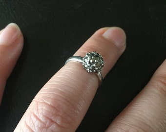 Sterling Silver Marcasite Ball Pinky Ring size 3