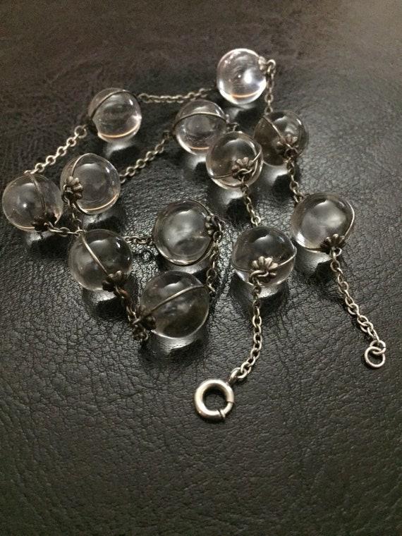 Pools of Light Rock Crystal Orb Sterling silver Floral Pedals Necklace Not Drilled