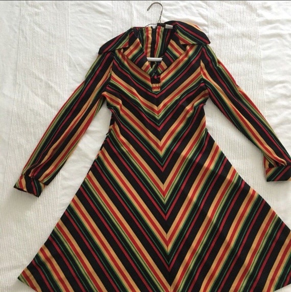 Vintage colorful Chevron Dress