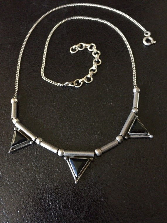 Art Deco Triple Triangle Beveled Onyx Sterling Silver Necklace 18