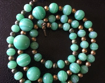 1920's Gorgeous Green Peking Glass and Rose Gold Bead Necklace