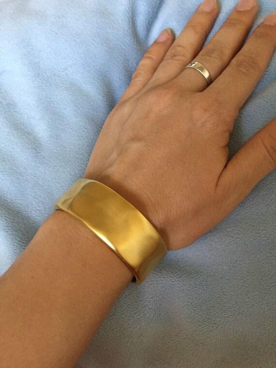 Rare Givenchy Cuff matte Gold Wide Cuff Bracelet