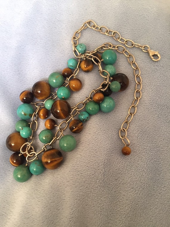 Handcrafted Boho Twisted Gemstones Hammered Multi-Link Tiger Eye Necklace Nuggets 14K Gold Filled Chain and Links 2 Beads Bohemian