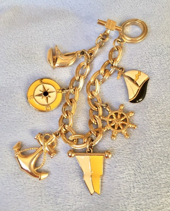 Vintage Givenchy Nautical Enamel Charm Bracelet