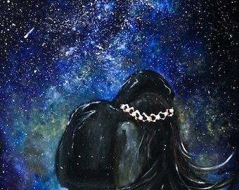 Fantastic romantic painting using acrylics