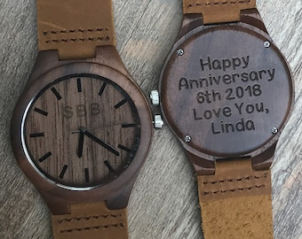 Anniversary Gifts for Men Wooden Watch Engraved Fathers Day Gift for Him Wood Watch Engraved Watch for Men Personalized Watch Custom Watch