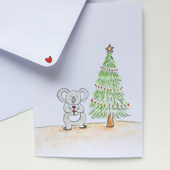 Set of Koala Christmas Cards/Aussie Christmas Card Set/Simple  Design/Watercolour Christmas Card/Christmas Card Pack/Koala Christmas Card