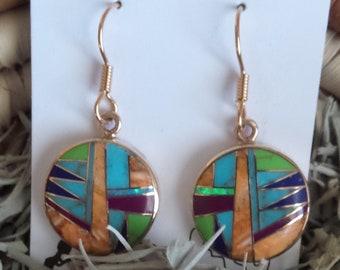 Bronze Round Multi Stone Southwest Style Earrings