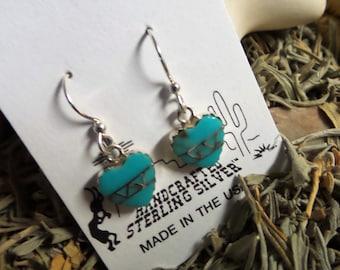 Southwest Turquoise Heart Earrings