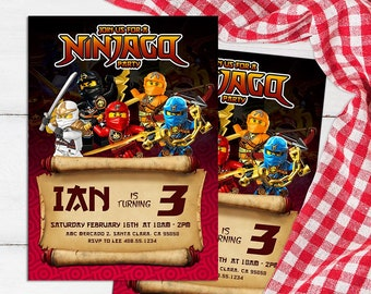 Ninjago invitations Etsy