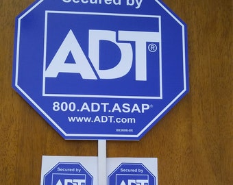 Security ADT Yard Sign with (4) window stickers.